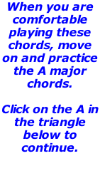 When you are comfortable playing these chords, move on and practice the A major chords.    Click on the A in the triangle below to continue.