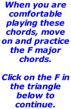 When you are comfortable playing these chords, move on and practice the F major chords.    Click on the F in the triangle below to continue.